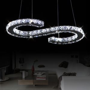Modern S-type LED Luxury Crystal Bulb Included Pendant, Minimalist Modern Metal Plating Energy Saving