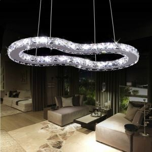 Modern Simple Stylish Artistic  Stainless Steel  LED Crystal Pendant Light