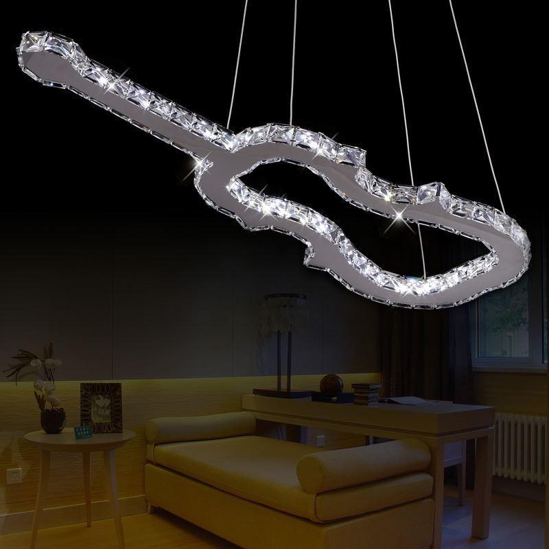 lighting ceiling lights pendant lights modern stainless steel guitar shape led pendant light