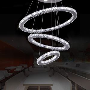 Modern Simple Stylish Artistic Stainless Steel LED Crystal Pendant Light Energy Saving