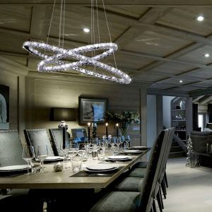 Modern Simple Stylish Artistic Stainless Steel LED Crystal Pendant Light Two Ring Energy Saving