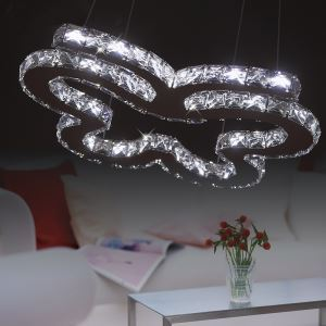 47W Contemporary Stainless Steel LED Crystal Pendant Light Energy Saving