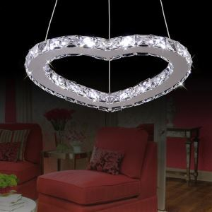 Modern Simple Stylish Artistic Stainless Steel heart-shape LED Crystal Pendant Light Energy Saving
