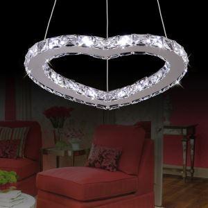 Modern Simple Stylish Artistic  Stainless Steel heart-shape LED Crystal Pendant Light