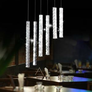 Modern Simple Artistic led Stainless Steel Crystal Pendant Lights 6 Light Energy Saving