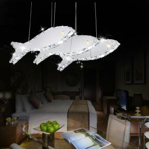 Modern Simple Artistic Stainless Steel LED Crystal Fish Pendant Light Energy Saving