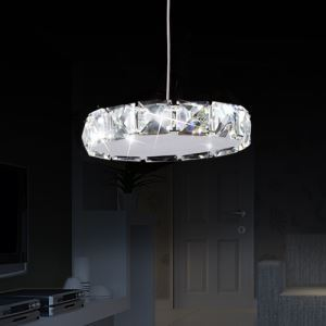 Modern Simple Artistic Stainless Steel LED Crystal Pendant Light Energy Saving