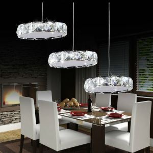 Modern Simple Artistic Stainless Steel LED Crystal Pendant Light 3 lights Energy Saving