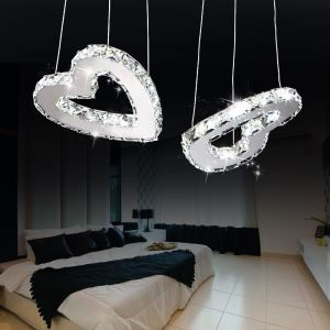 Modern Simple Artistic  Stainless Steel heart-shape LED Crystal Pendant Light