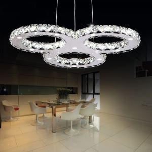 Modern Simple Artistic Stainless Steel led Crystal Pendant Light 3 Light Energy Saving