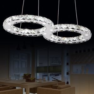 Concise Modern Metal Plating LED Crystal Pendant Light Energy Saving