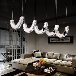 (In Stock) Modern Simple Artistic led Stainless Steel Crystal Pendant Light with 5 lights