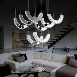 Modern Simple Artistic led Stainless Steel Crystal Pendant Light with 8 lights Energy Saving