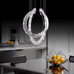 Modern Simple Artistic Stainless Steel Plating LED Crystal Pendant Light Energy Saving