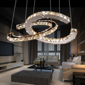 Modern Simple Artistic Stainless Steel Plating LED  Amber Crystal Pendant Light