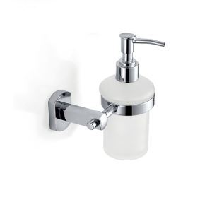 Modern Contemporary Chrome Finish Liquid Soap Dispenser Rack Silver Wall Mounted Brass Soap Holder