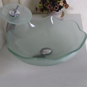 Victory Round Frosted Tempered glass Vessel Sink With Waterfall Faucet, Mounting Ring and Water Drain