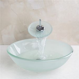 Frosted  Round Tempered glass Vessel Sink With Waterfall Faucet, Mounting Ring and Water Drain