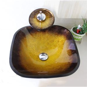 Tempered Glass Vessel Sink With Waterfall Faucet ,Pop - Up drain and Mounting Ring