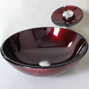 Red Wave Tempered glass Vessel Sink With Waterfall Faucet ,Pop - Up drain and Mounting Ring
