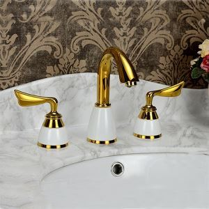 Ti-PVD Finish Widespread Bathroom Sink Faucet