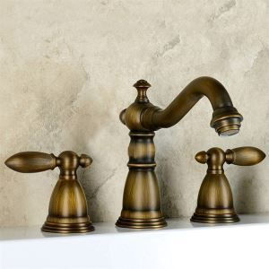 Polished Brass Finish Widespread Bathroom Sink Faucet