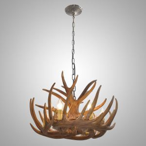Antler 6-Light Chandelier Rustic Cascade Ceiling Light Antler Black White Yellow