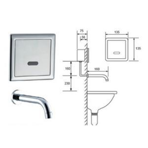 Contemporary Sensor Wall Mount Hands Free Bathroom Sink Faucet-Chrome Finish(Cold)