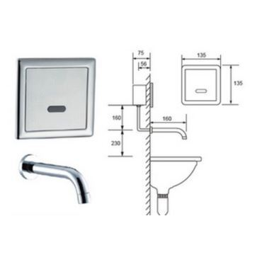contemporary sensor wall mount hands free bathroom sink faucet chrome finish cold. Black Bedroom Furniture Sets. Home Design Ideas
