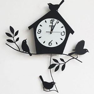 "22""Bird house Wall Clock in Metal"