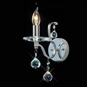 Modern Wall Sconce Chrome Crystal Drop Wall Light with 1 Light
