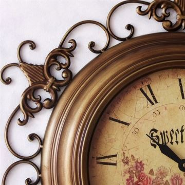 """20""""Euro Country Style Floral Wall Clock in Metal"""