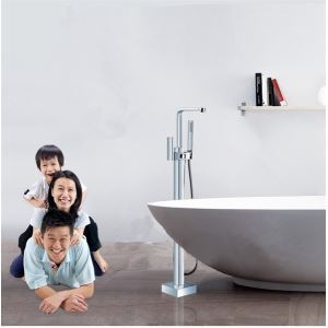 Solid Brass Modern Floor Standing Tub Shower Faucet with Hand Shower