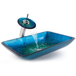 Rectangular Tempered Glass Vessel Sink and Waterfall Faucet Blue