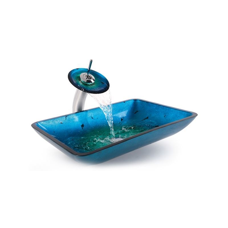 Rectangular Tempered Glass Vessel Sink And Waterfall