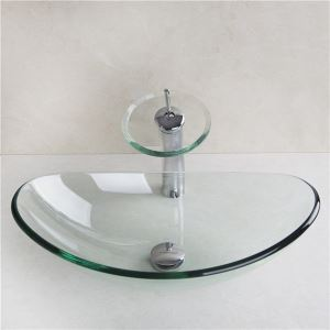 Round Tempered Glass Vessel Sink With Waterfall Faucet ,Pop - Up drain and Mounting Ring