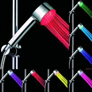 Contemporary Chrome Finish 7 Colors Changing LED Handle Shower Head
