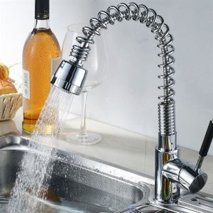 Solid Brass Spring Pull-out Kitchen Faucet - Chrome Finish