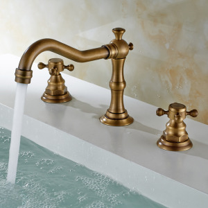 Antique Sink Faucet Brass Finish Widespread Bathroom Sink Faucet