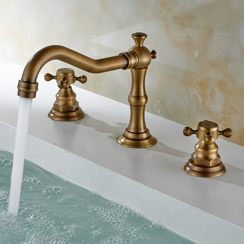 Antique sink faucet brass finish widespread bathroom sink faucet Antique brass faucet bathroom