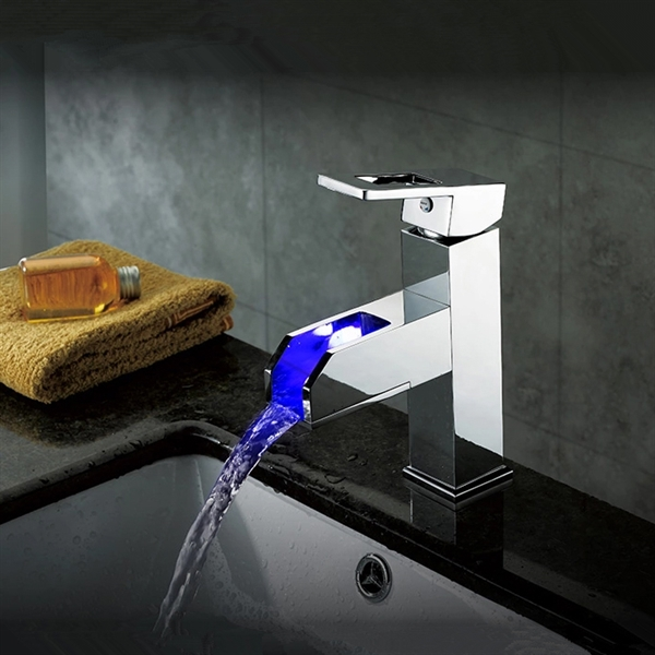 color changing led waterfall bathroom sink faucet tall