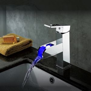 Color Changing LED Waterfall Bathroom Sink Faucet(Tall)