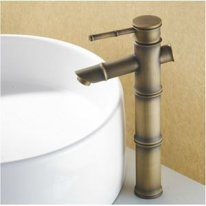 Antique Brass Bathroom Sink Faucet - Bamboo Shape Design