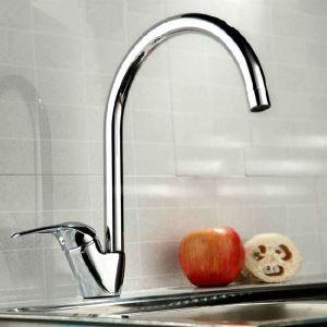 Contemporary Solid Brass Vertical tank Kitchen Faucet Chrome Finish
