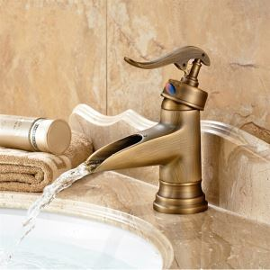 Bronze Waterfall Centerset Bathroom Sink Faucet with Antique Finished