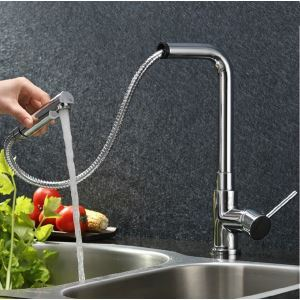 Single Handle Pull Out Solid Brass Chrome Finish Kitchen Faucet