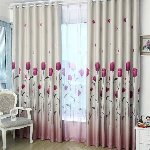 ( One Panel )  Country Print Tulip Pattern Polyester & Cotton Room Darkening Curtains-618