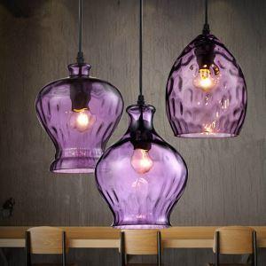 Industrial Retro Purple Pendant light with three lights