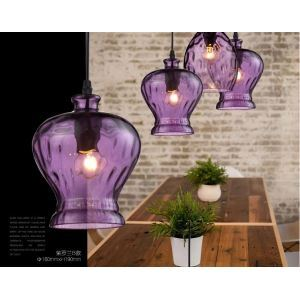 Industrial Retro Purple Pendant Light with three lights
