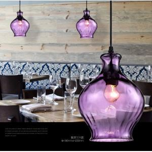 Industrial Retro Purple Mini Pendant Light with one light Ceiling Lights